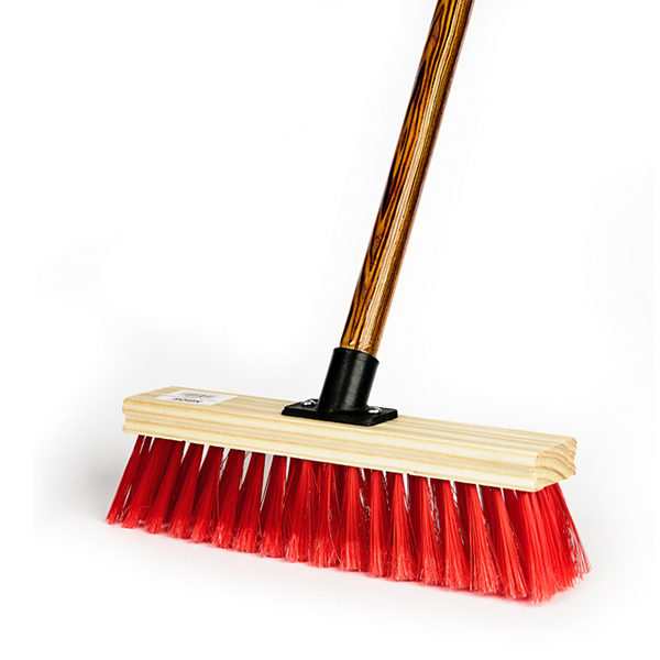 PROMO BROOM WITH PLASTIC CONNECTOR & WOODEN HANDLE